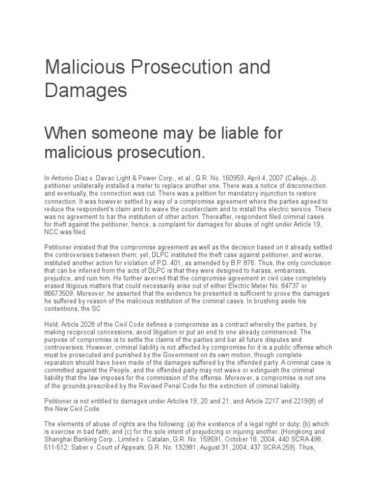 Malicious Prosecution and Damages | Damages | Malicious