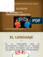 El Lenguaje y El Conocimiento Objetivo Diapositiva