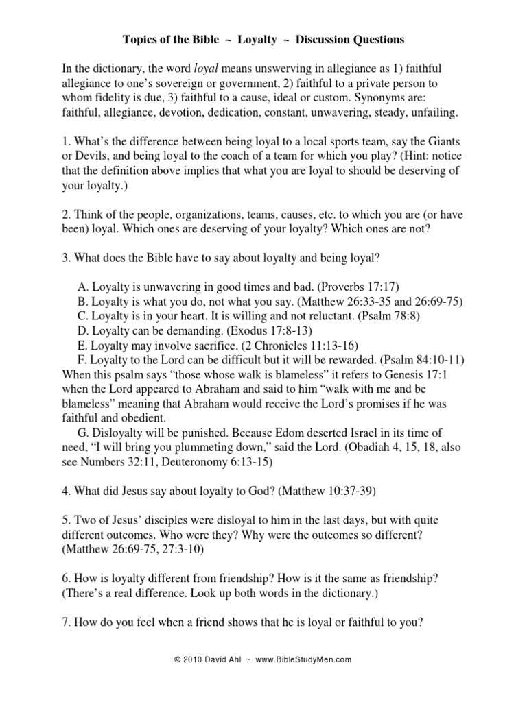 Loyalty Handout Loyalty Book Of Deuteronomy