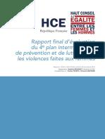 Rapport final d'évaluation du 4e plan interministériel de prévention et de lutte contre les violences faites aux femmes