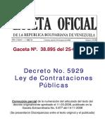 Decreto 5929 Ley de Contrataciones 25 Marz 2008