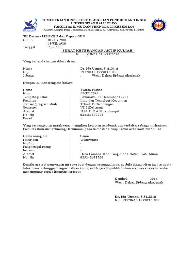Surat Keterangan Aktif Kuliah Yusmandocx