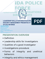 Leadership Skills For Investigators, Ethics And Integrity Management