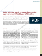 Cardiac Arrhythmias in Acute Coronary Syndromes Position