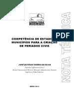Competência de Estados e Municípios Para a Criação de Feriados Civis
