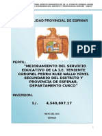 mejoramiento Del Servicio Educativo de La i.e. Teniente Coronel Pedro Ruiz Gallo Nivel Secundario