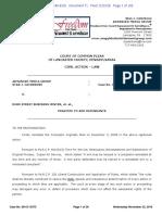 Recorded Case No. 49-mc-2016 Declaration Re Lancaster County Court Case No. 08-CI-13373 Re Praecipe to Add Defendants Taproom Marriott, November 23, 2016