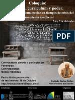 Convocatoria Coloquio Escuela Curriculum y Poder