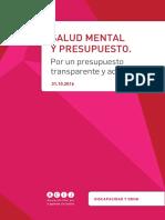 Salud Mental y Presupuesto. Por un presupuesto transparente y adecuado.