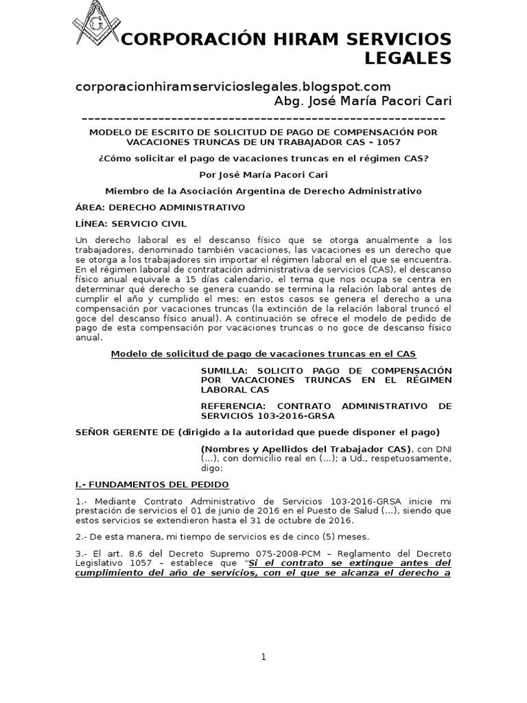 Modelo de Escrito de Solicitud de Pago de Compensación Por ...