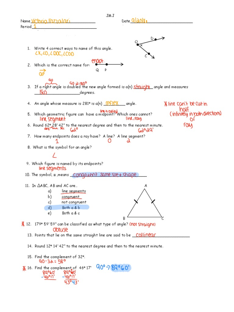 Ch 1 Review Angle Line Geometry