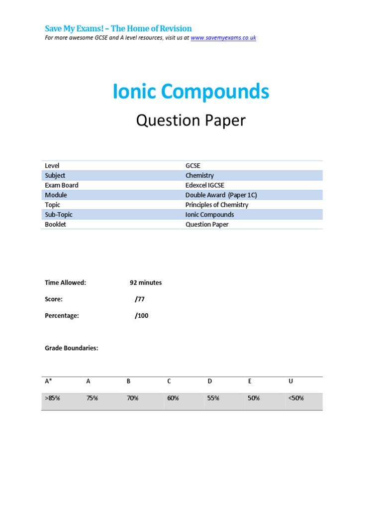 1c-Ionic Compounds Qp - Edexcel - Igcse - Chemistry