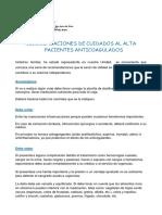 Recomendaciones de Enfermería al Alta. Pacientes Anticoagulados_HSJDA