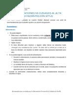 Recomendaciones de Enfermería al Alta.ICTUS