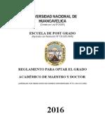 Reglamento de Obtencion de Grado de Maestro y Doctor