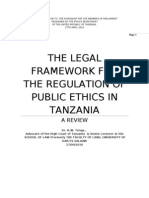Tenga, Ringo W. 'The Legal Framework for the Regulation of Public Ethics in Tanzania - A Review [Ethics Commission's MP Workshop, Morogoro,, April, 2010]