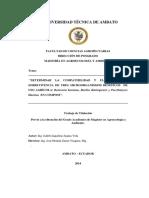 """""""DETERMINAR LA COMPATIBILIDAD Y EL TIEMPO DE  SOBREVIVENCIA DE TRES MICROORGANISMOS BENÉFICOS DE  USO AGRÍCOLA"""