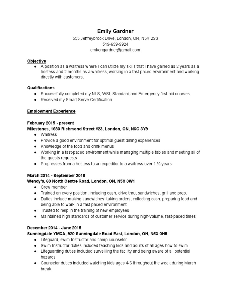 resume2016 4 | Waiting Staff | Teaching And Learning