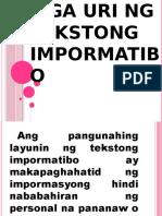 Mga Uri Ng Tekstong Impormatibo