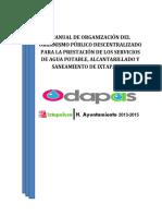 Manual de Organización Del Organismo Público Descentralizado Para La Prestación de Los Servicios de Agua Potable 24.09.2015