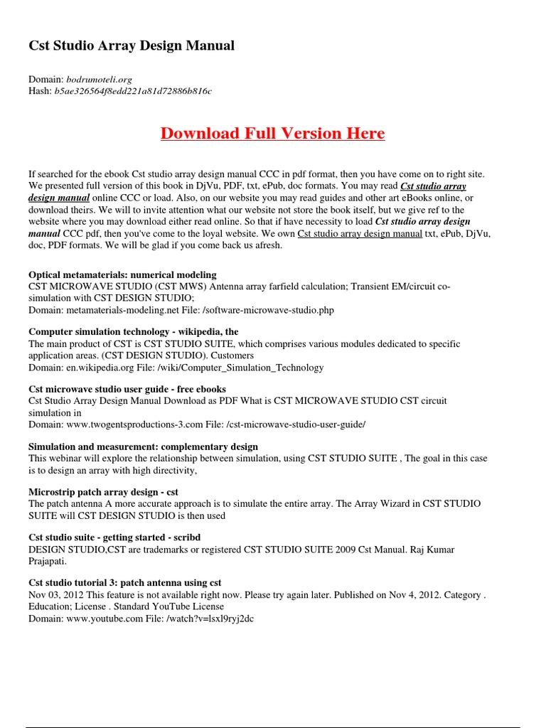 Cst Studio Array Design Manual Portable Document Format Simulation