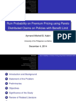Ruin Probability on Premium Pricing using Pareto Distributed Claims on Policies with Benefit Limit