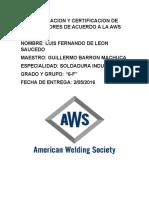 Calificacion y Certificacion de Soldadores de Acuerdo a La Aws