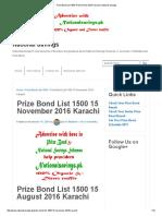 Prize Bond List 1500 15 November 2016 Karachi _ National Savings