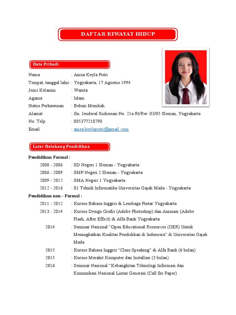 Contoh CV Curriculum Vitae Kreatif dan Menarik
