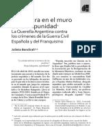 Una fisura en el muro de la impunidad. La querella argentina contra los crímenes del franquismo. Por Julieta Bandirali.