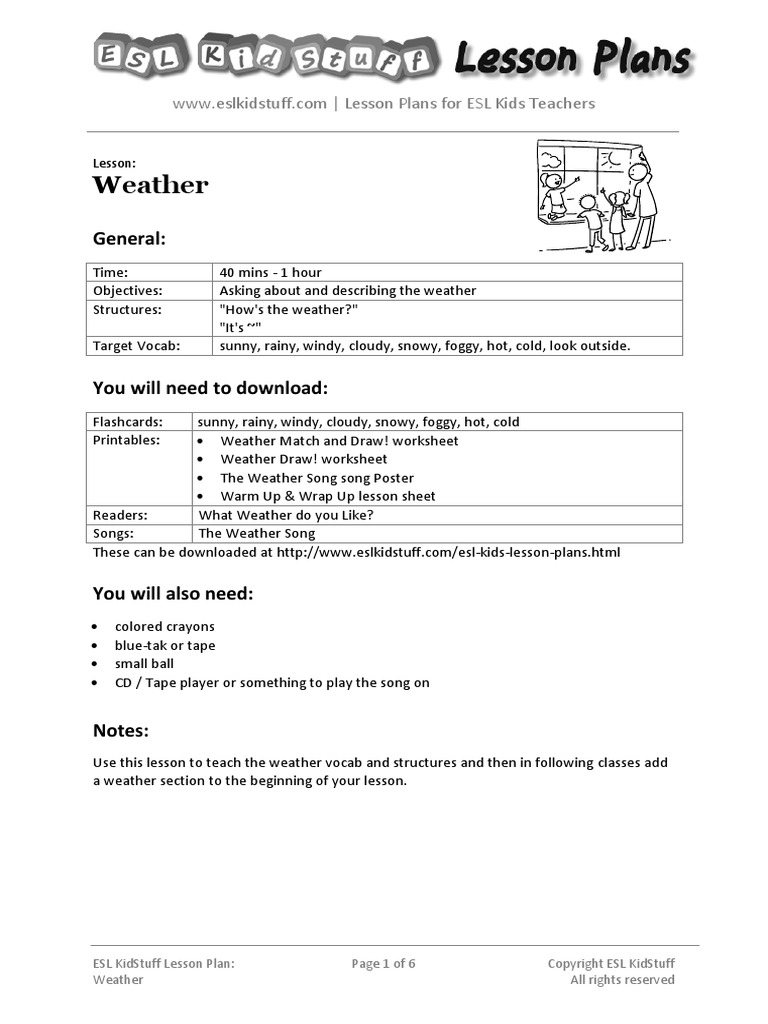 weather lesson planpdf lesson plan teaching and learning