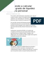Aprendiendo a Calcular Nuestro Grado de Liquidez Financiera Personal