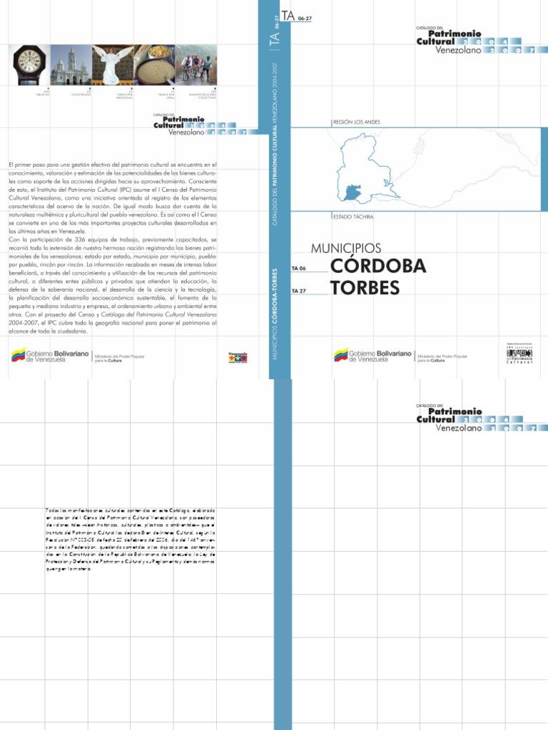 Catalogo Patrimonio Cultural_municipio Cordoba Torbes Estado