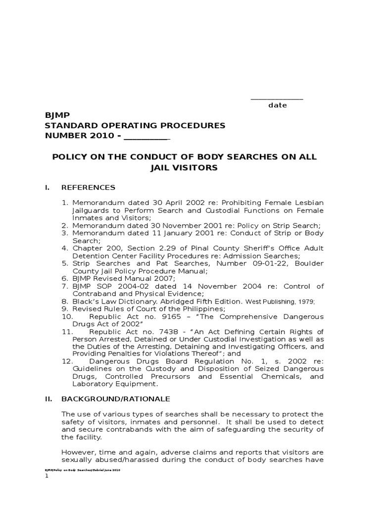 bjmp policy on body search draft search warrant arrest rh es scribd com