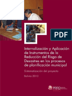 Internalización y Aplicación del Instrumento de la Reducción del Riesgo de Desastres en los procesos de planificación municipal