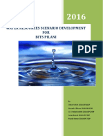Water Resource Scenario Development for BITS Pilani