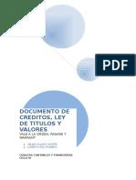 DOCUMENTO DE CREDITOS, LEY DE TITULOS Y VALORES