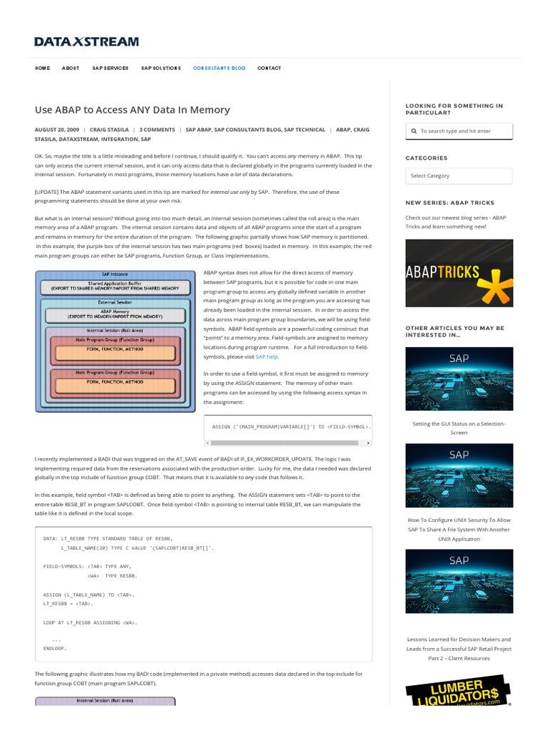 Use Abap To Access Any Data In Memory Dataxstream