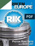 Riken Piston Rings for European Vehicles Vol01; Кольца поршневые RIK vol01