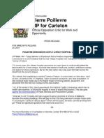 POILIEVRE DENOUNCES COSTLY & RISKY HOSPITAL LOCATION