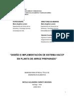 Diseno e Implementacion de Sistema HACCP en Planta de Arroz Preparado