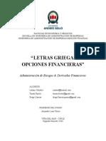 Letras griegas en Derivados Financieros