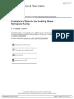 Evaluation of Transformer Loading Above Nameplate Rating