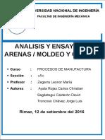 Informe de  Fundición - procesos de manufactura