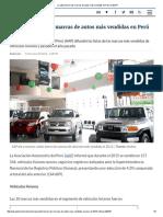 ¿Cuáles Fueron Las Marcas de Autos Más Vendidas en Perú El 2015
