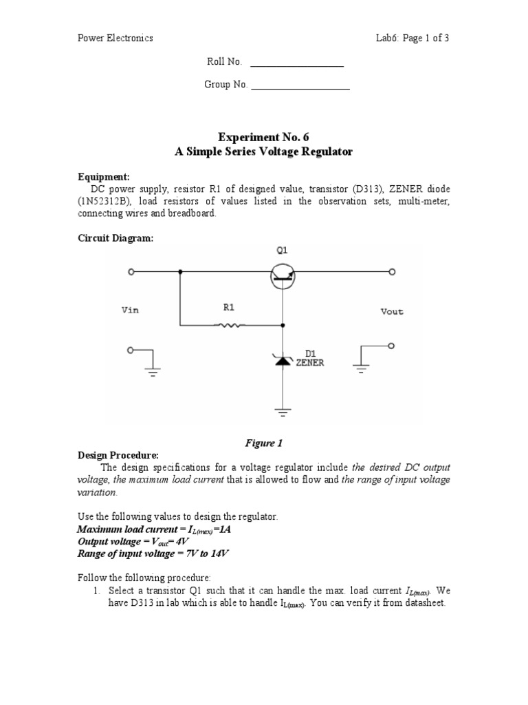 Power Electronics Linear Voltage Regulationpdf Electrical Circuit Diagram Zener Diode Equipment Engineering