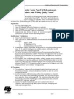 Welding Quality Control Plan Req