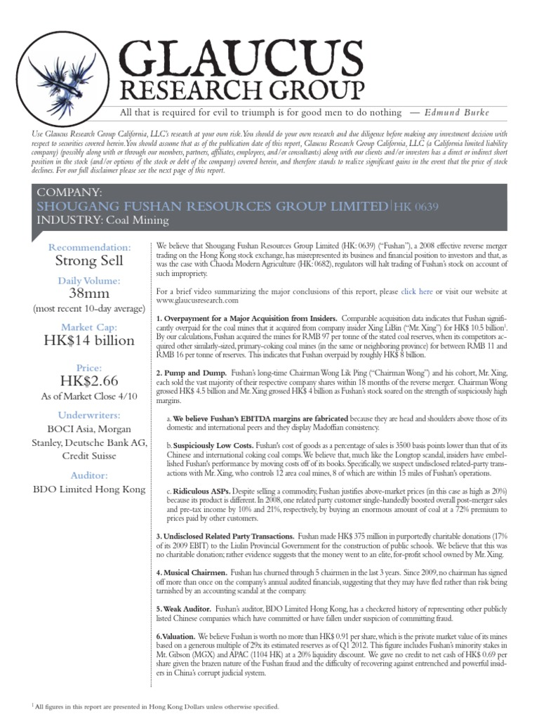 20120411 Shougang Fushan HK0639 | Mergers And Acquisitions