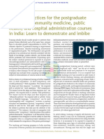 Skills and practices for the postgraduate trainees of community medicine, public health, and hospital administration courses in India