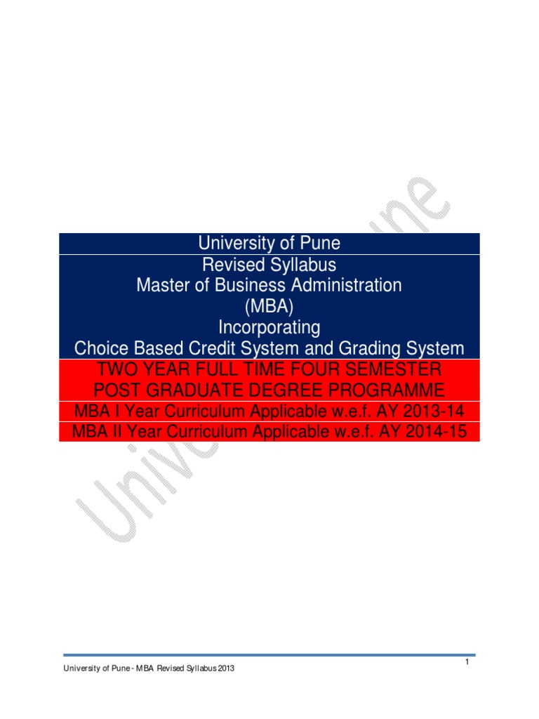 mba syllabus 2013 cbcgs pattern final pdf thesis test assessment